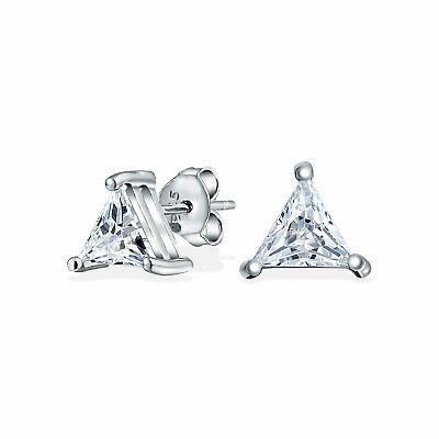 Triangle Basket Set Trillion Cut CZ Stud Earrings 925 Sterling Silver Cut Earrings Set