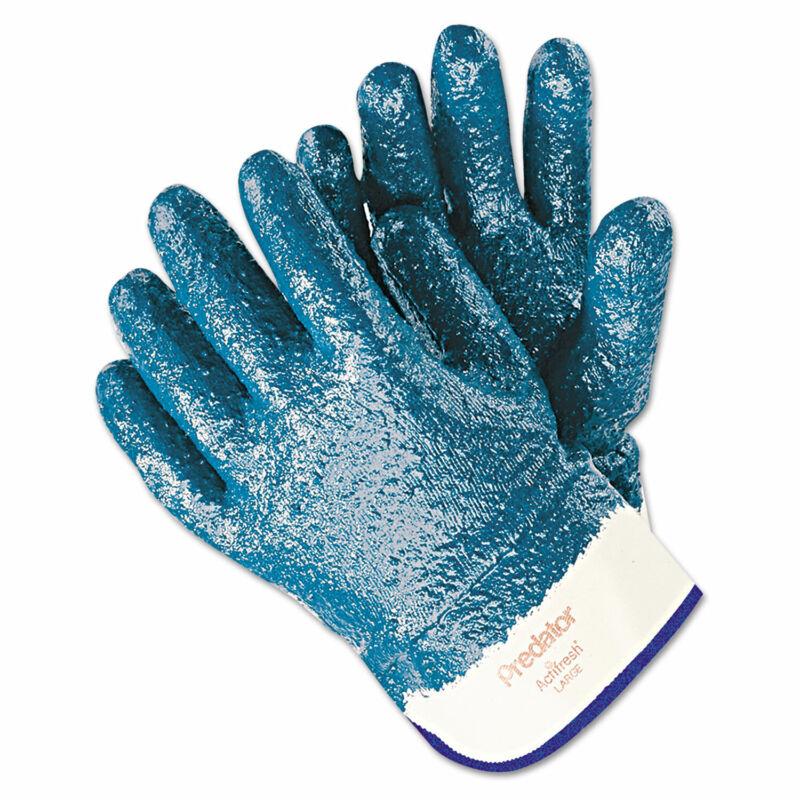 Memphis Predator Premium Nitrile-Coated Gloves Blue/White Large 12 Pairs 9761R