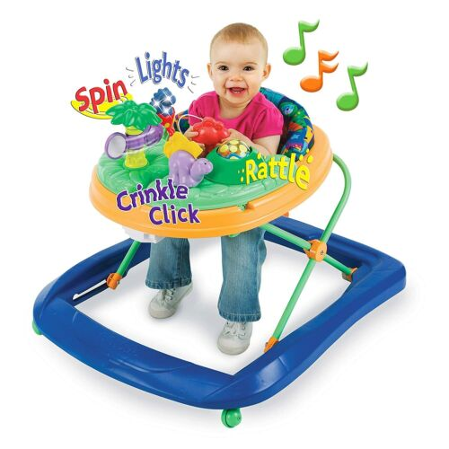 Baby Walker with Activity Tray Dino Sounds Lights Adjustable Height Foldable