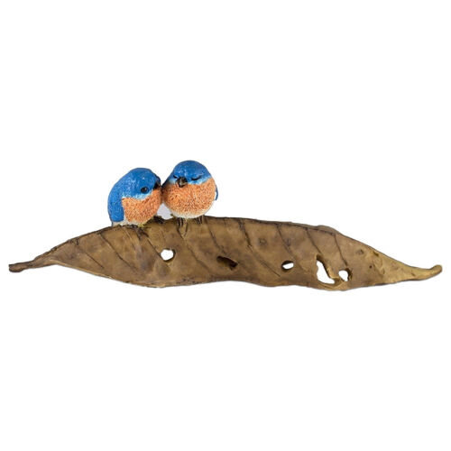 "Mini Bluebirds On Leaf Bird Figurine 6.25"" Long Resin New In Box!"