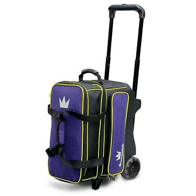 "Brunswick CROWN DELUXE 2 Ball Roller Bowling Bag 5"" Urethane Wheels Purple/Yello"