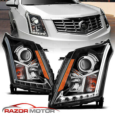 2010-2016 LED DRL Neon Bar Projector Black Headlights Pair For Cadillac SRX SUV