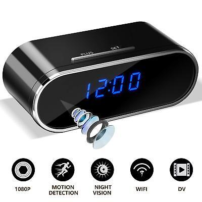 HD 1080P Wireless Wifi IP Spy Hidden Camera Motion Security Alarm Clock IR Cam for sale  Shipping to South Africa