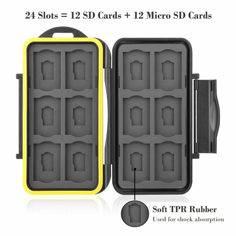 Memory Card Case Holder Storage Fit 12SD+12Micro SD Card Wat