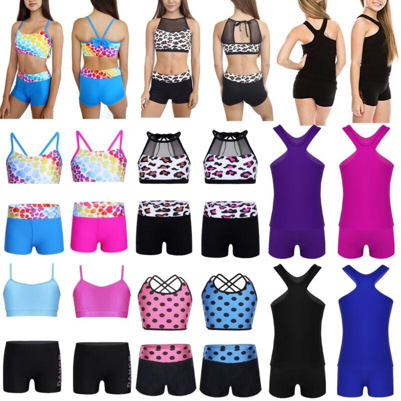 Girls Dance Outfit Kid Ballet Gymnastics Gym Sport Bra Tops+Shorts Dancewear Set