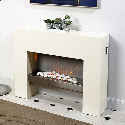 WHITE FREE STANDING ELECTRIC FIRE MDF SURROUND FIREPLACE FLICKER LIVING FLAME