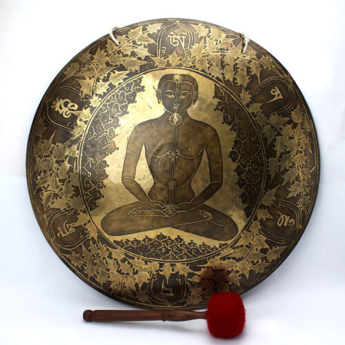 20 inch Chakra Carved Super Sound Tibetan Temple Healing Gong 51 Cm from Nepal