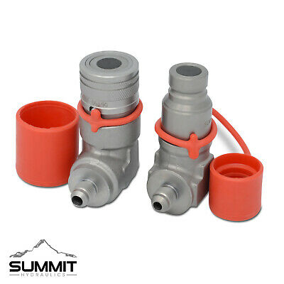 90 Degree Flat Face Skid Steer Hydraulic Quick Connect Coupler Set 38 Jic Male