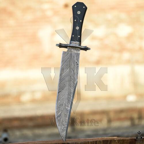Handmade Damascus Steel Hunting Bowie Knife Micarta Handle VK2122