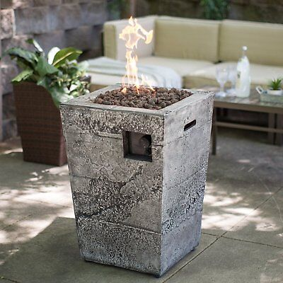 Propane Gas Fire Pit Column Stone Patio Deck Backyard Outdoor with Cover New -