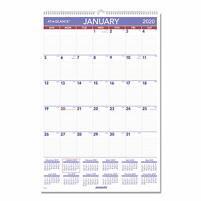 At-a-glance Monthly Wall Calendar With Ruled Daily Blocks 20 X 30 White 2020