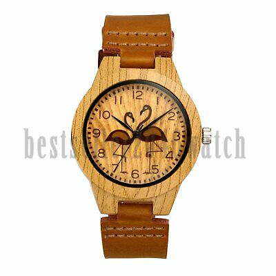 Fashion Flamingo Dial Wood Case Genuine Leather Strap Quartz Analog Wrist Watch