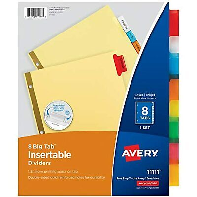 New Avery 8-tab Binder Dividers Insertable Multicolor Big Tabs 1 Set 11111