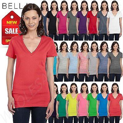 Bella Canvas Ladies Womens Deep V Neck Short Sleeve S Xl T Shirt R B6035
