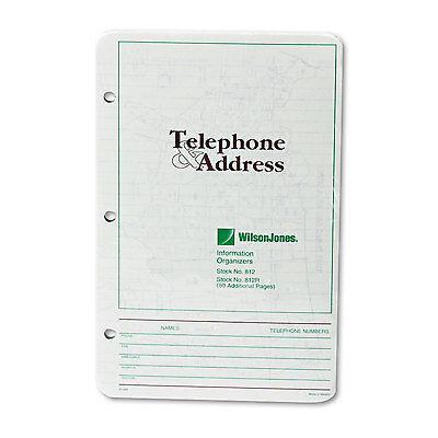Wilson Jones Looseleaf Phone/Address Book Refill 5 1/2 x 8 1/2 80 Sheets 812R (Address Book Refill Sheets)