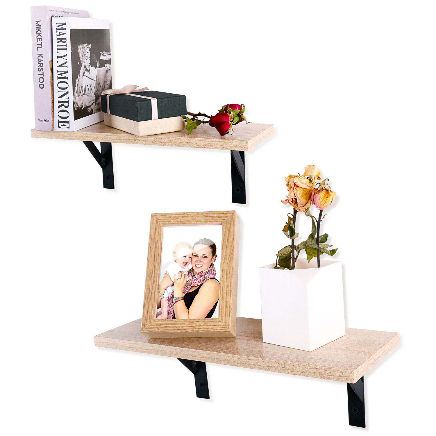 Floating Shelves Wall Mounted, Set of 2, White Maple Wall Sh