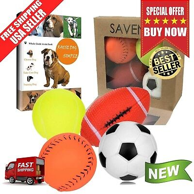 Dog Toys For Aggressive Chewers Tough Pet Ball Toy Set of 4 Non Toxic Squeaky US