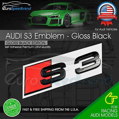 Audi S3 Gloss Black Emblem 3D Badge Rear Trunk Lid for S Line Logo Nameplate