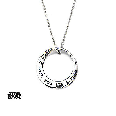 Authentic Star Wars Womens Stainless Steel Mobius I Love You I Know Necklace
