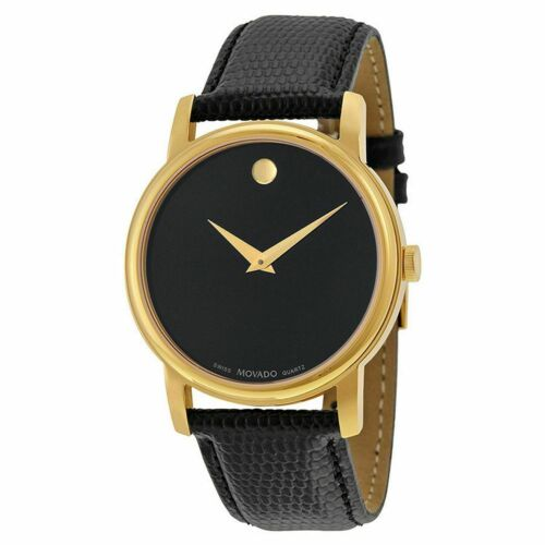 """""""MOVADO"""" Museum 2100005 Gold Classic Black Dial Leather Wrist Watch Men"""