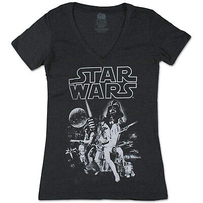 Star Wars Women's Official 'Poster' Performance Graphic Tee, Charcoal Htr, S