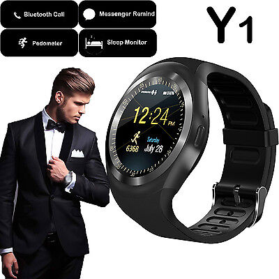 Y1 Sports Round Bluetooth Smart Watch Pedometer Sim for Android IOS Smartphones