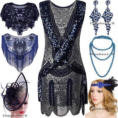 Blue Flapper Dress (1920s Flapper Dress Vintage Charleston Gatsby Sequin Embellished Short Prom)