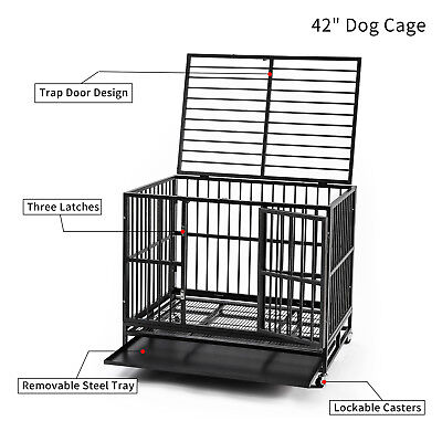 """42"""" Dog Crate Heavy Duty Steel Dog Cage Black Strong Metal Pet Wheels Removeable"""