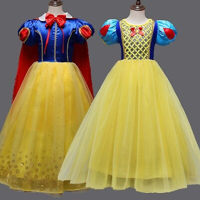 Kids Girls Snow White Princess Dress Christmas Party Fancy Cosplay Costume Gift