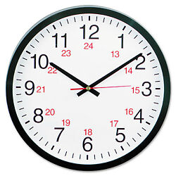 UNIVERSAL 24-Hour Round Wall Clock 12 5/8 Black 10441