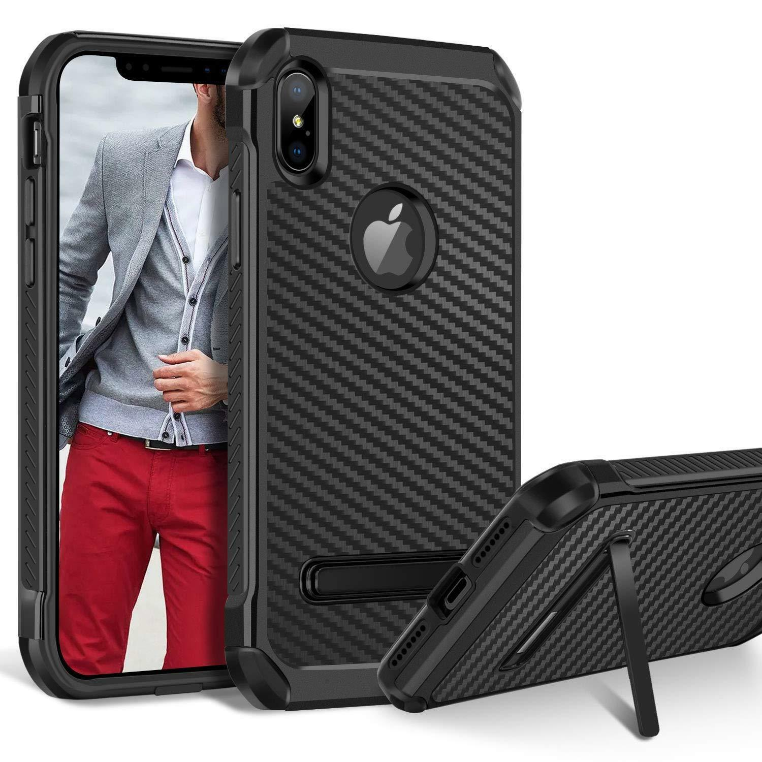 Fits iPhone Case Kickstand Heavy Duty Shockproof Carbon Fibe