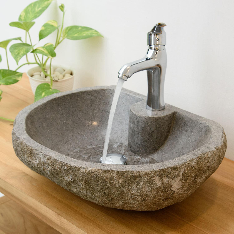 WOHNFREUDEN Aufsatz-Waschbecken aus Naturstein Flussstein ca 50 Steinwaschbecken