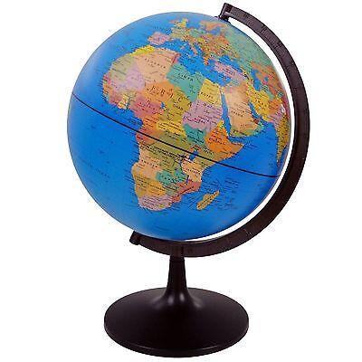 WORLD GLOBE Rotating Swivel Map of Earth Atlas Geography diameter 32 cm uk stock