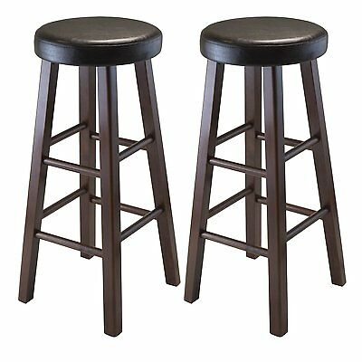 (Marta Set of 2 Round Bar Stool, PU Leather Cushion Seat, Square Legs, Assembled)
