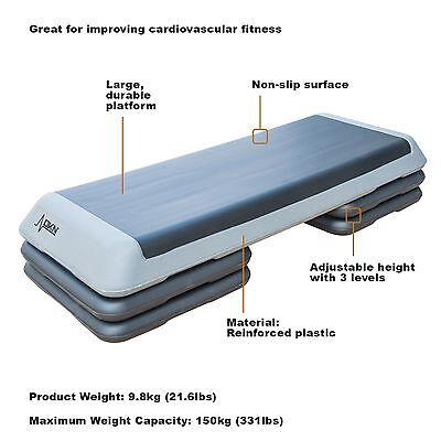 DKN Studio Adjustable 3 Level Aerobic Stepper Fitness Step Platform