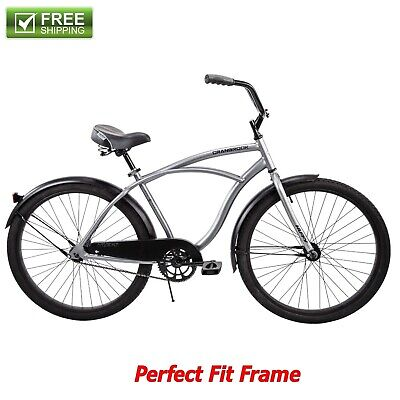"Huffy Cruiser Bike 26"" Silver Men's Comfort Commuter City Beach Bicycle New!"