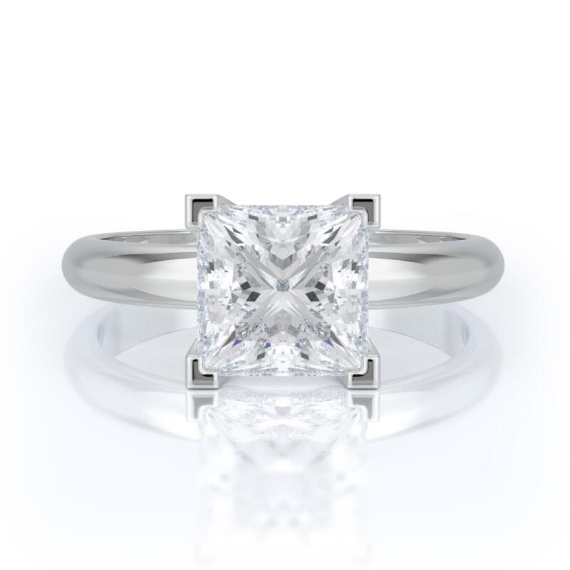 3.5 Carat F Vs2 Princess Cut Diamond Solitaire Engagement Ring 14k White Gold