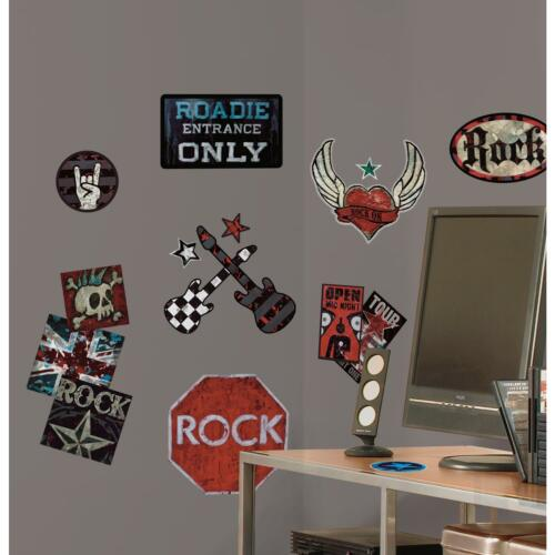 Boys Rock N Roll Wall Stickers 25 Decals Guitar Skull