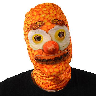 Baked Bean Frühstück Gesicht 3D Effekt Lycra Maske Stoff Gesichtsmaske Kostüm