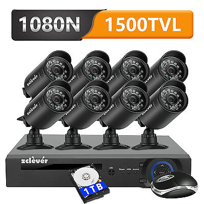 Zclever 8CH 1080N DVR Outdoor CCTV Home Security Camera System W/ 1TB Hard Drive