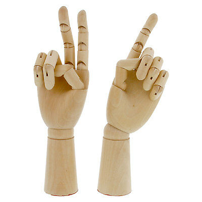 "US Art Supply 12"" Right & 12"" Left Hand Manikin Wooden Art Mannequin Figure Set"