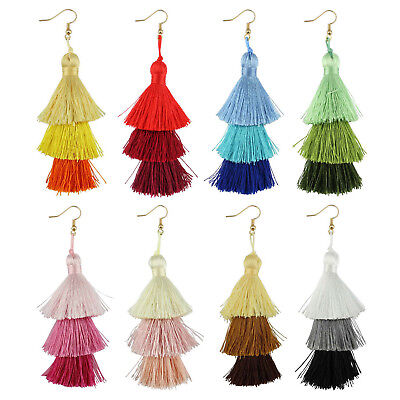 Ombre Triple Silk Tassel Drop Fashion Earrings for Girls and Ladies Boho (Ombre Jewelry)