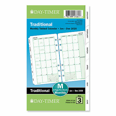 Day-timer Monthly Classic Refill 6 34 X 3 34 Whitegreen 2019 87129