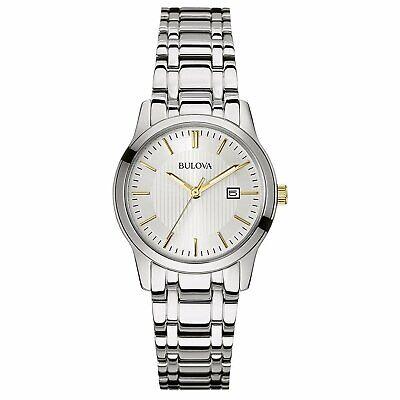 Bulova Women's Quartz Date Calendar Silver-Tone Silver Dial 30mm Watch 98M121