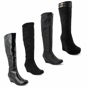 Womens-Ladies-Stretch-Knee-High-Wedge-Heel-Flat-Sole-Equestrian-Long-Boots-3-8