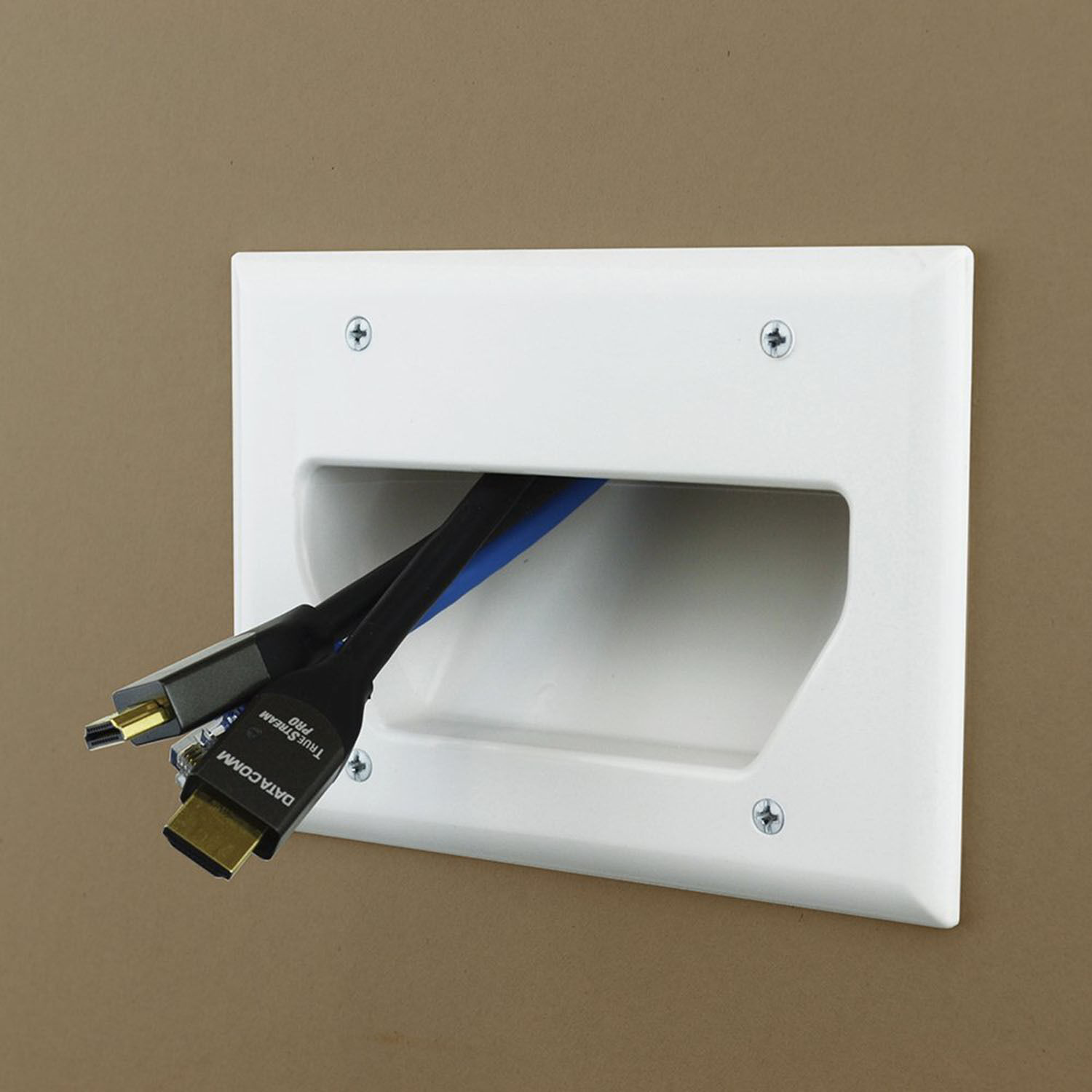 3-Gang Recessed Wall Low Voltage Cable Plate TV Audio Wire P