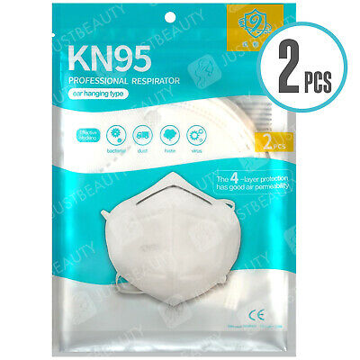 2 X KN95 FFP2 N95 Face Mask Protection Surgical/ Medical Anti Bacterial Pollen