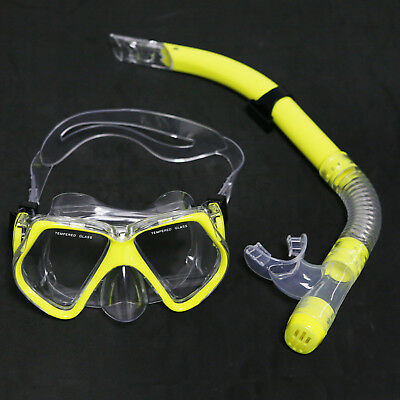 Adult Glass PVC Swimming Swim Diving Scuba Anti-Fog Goggles Mask & Snorkel Set
