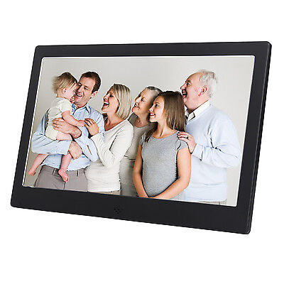 "10"" Digital Photo Frame Metal Frame LED Picture Video Player Black +Remote"