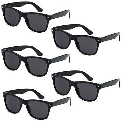 5 PAIR LOT Black Sunglasses Wholesale Small Medium Large Bulk Pack